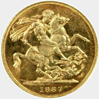 1887-M Small Head Full Sovereign reverse