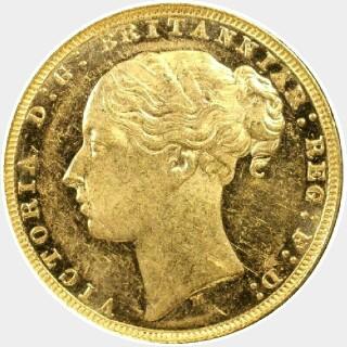 1881-M Narrow Truncation Long Tail Full Sovereign obverse