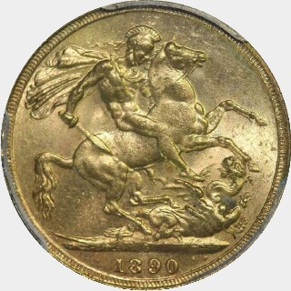 1890-S Small Head Full Sovereign reverse