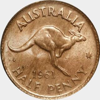 1961-Y  Half Penny reverse