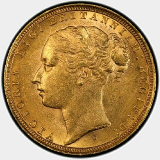 1884-S Wide Truncation Short Tail Full Sovereign obverse