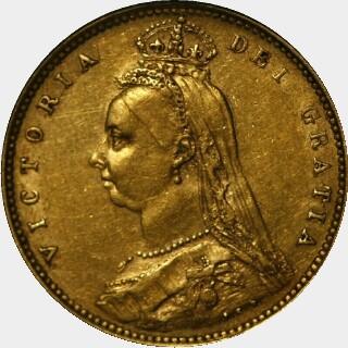1887-S Medium JEB Half Sovereign obverse