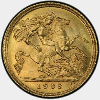 1908-S  Half Sovereign reverse