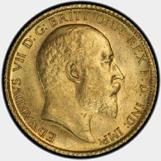 1908-S  Half Sovereign obverse