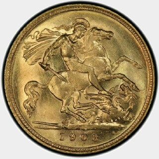 1908-M  Half Sovereign reverse