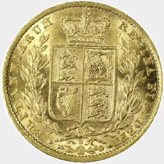 1871-S WW Incuse Full Sovereign reverse