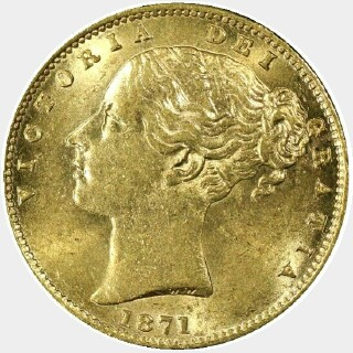 1871-S WW Incuse Full Sovereign obverse