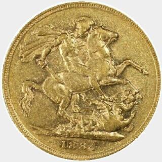 1884-M Narrow Truncation No Initials Short Tail Full Sovereign reverse