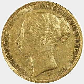 1884-M Narrow Truncation No Initials Short Tail Full Sovereign obverse