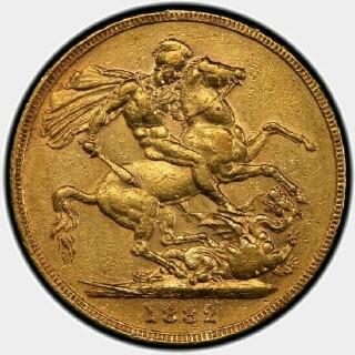1882-M Wide Truncation Short Tail Full Sovereign reverse