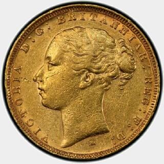 1882-M Wide Truncation Short Tail Full Sovereign obverse