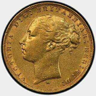 1880-M Narrow Truncation Long Tail Full Sovereign obverse