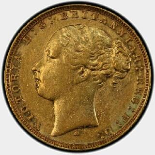 1878-M Narrow Truncation Long Tail Full Sovereign obverse