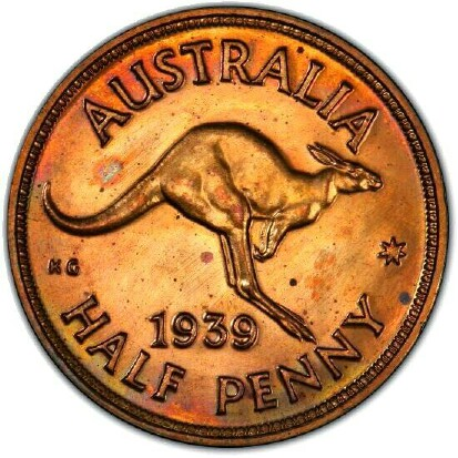 Roo reverse on 1939 Half Penny.