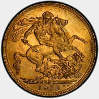 1918-M  Full Sovereign reverse