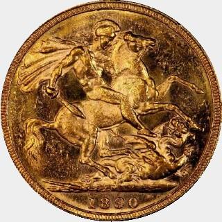 1890-M  Full Sovereign reverse