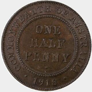 1918-I  Half Penny reverse