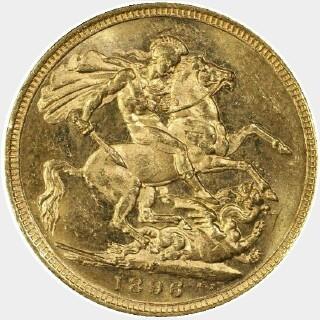 1896-M  Full Sovereign reverse