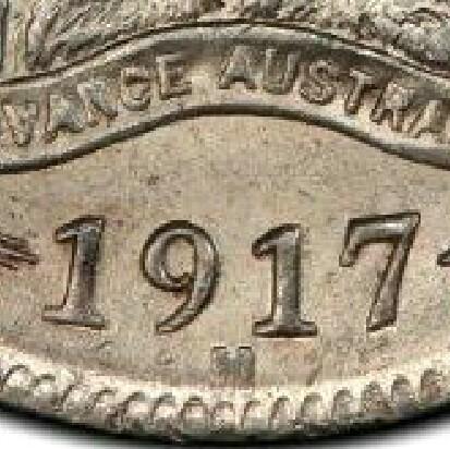 Melbourne 'M' mint-mark on a 1917-M Shilling.