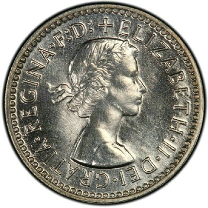 Obverse of the 1955 proof threepence
