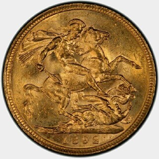 1892-M  Full Sovereign reverse
