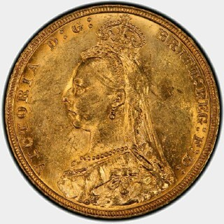 1892-M  Full Sovereign obverse