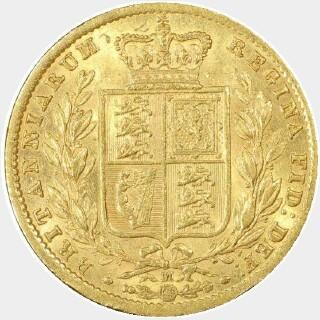 1872/1-M Overdate Full Sovereign reverse