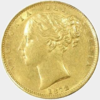 1872/1-M Overdate Full Sovereign obverse