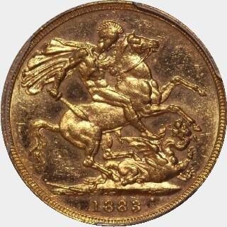 1883-M Narrow Truncation Short Tail Full Sovereign reverse