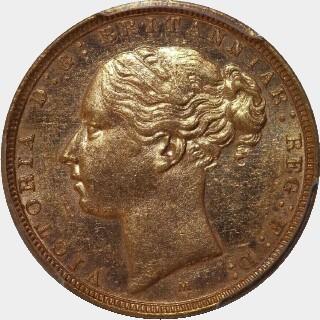 1883-M Narrow Truncation Short Tail Full Sovereign obverse