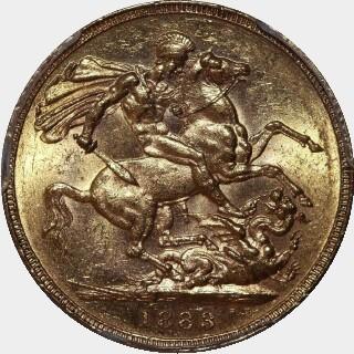 1883-S Wide Truncation Short Tail Full Sovereign reverse