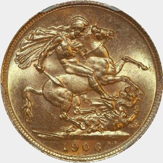 1906-S  Full Sovereign reverse