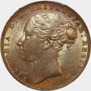 1876-S Narrow Truncation Long Tail Full Sovereign obverse