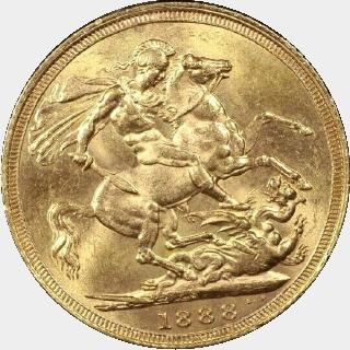 1888-S Large Head Medium JEB Full Sovereign reverse