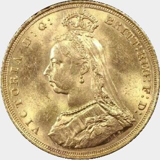 1888-S Large Head Medium JEB Full Sovereign obverse