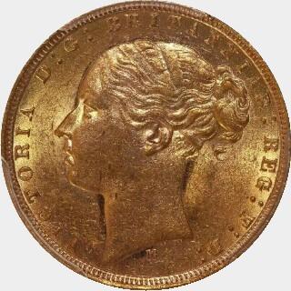 1875-M Narrow Truncation Long Tail Full Sovereign obverse