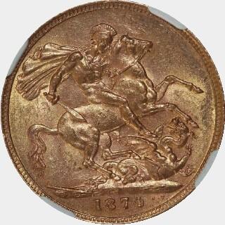 1874-S Narrow Truncation Long Tail Full Sovereign reverse
