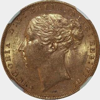 1874-S Narrow Truncation Long Tail Full Sovereign obverse