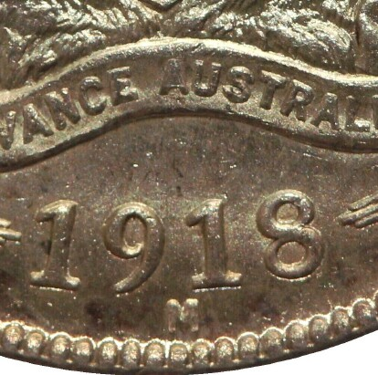 Melbourne 'M' mint-mark on the 1918-M Shilling.