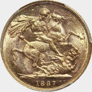 1887-M Wide Truncation Short Tail Full Sovereign reverse