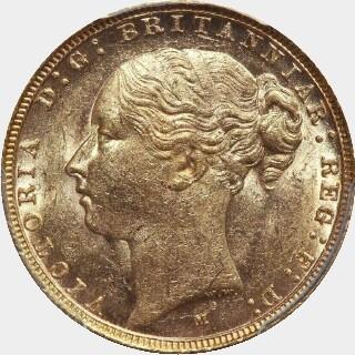1887-M Wide Truncation Short Tail Full Sovereign obverse