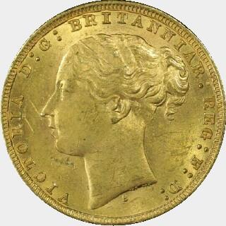 1879-S Narrow Truncation Long Tail Full Sovereign obverse