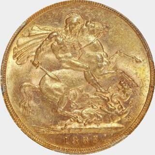 1885-M Narrow Truncation Short Tail Full Sovereign reverse