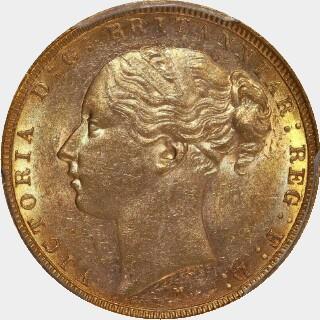 1885-M Narrow Truncation Short Tail Full Sovereign obverse