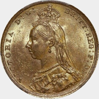 1888-S Small Head Full Sovereign obverse