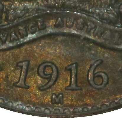 Melbourne 'M' mint-mark on a 1916-M Threepence.
