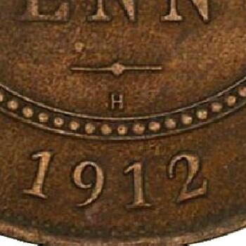 H Mintmark of the 1912 Heaton mint half penny