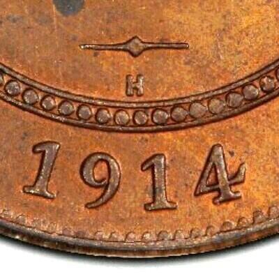 H mintmark on the Heaton mint issue