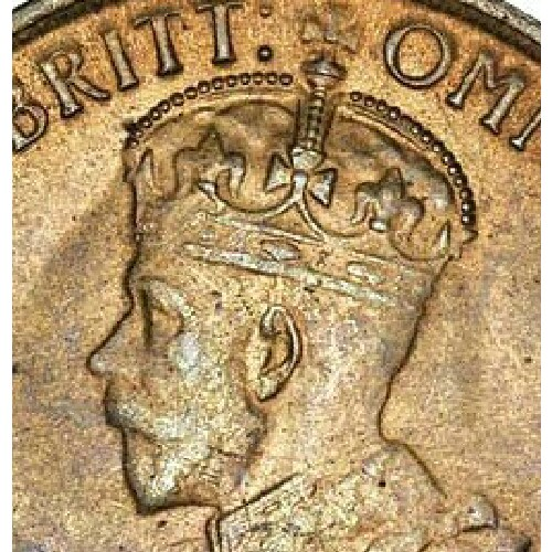 Softly struck up crown of a 1915 half penny