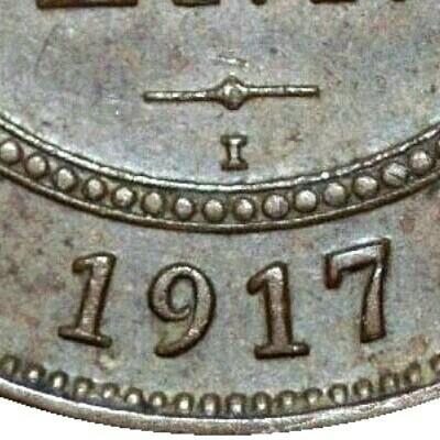 I mintmark on the 1917 half penny